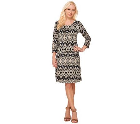 Liz Claiborne New York Petite 3/4 Sleeve Printed Dress