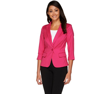 Kelly by Clinton Kelly 3/4 Sleeve Jacquard Blazer