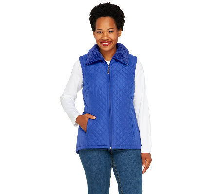 """As Is"" Denim & Co. Zip Front Quilted Vest with Faux Sherpa Lining"