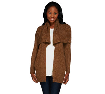 Lisa Rinna Collection Open Front Sweater with Pockets - A267482