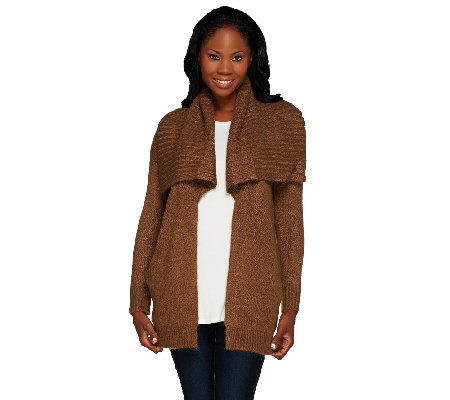 Lisa Rinna Collection Open Front Sweater with Pockets