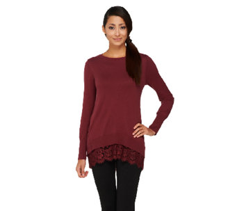"""As Is"" LOGO by Lori Goldstein Cotton Cashmere Sweater with Lace Trim - A267782"