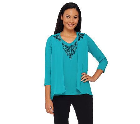 Bob Mackie's Lace Embroidered Vest and Knit Top Set