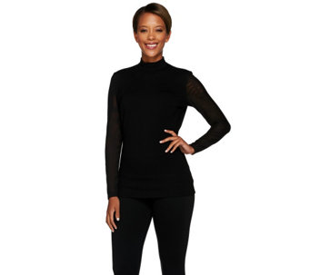G.I.L.I. Milano Ponte Mock Neck Top with Sheer Mesh Sleeves - A268582
