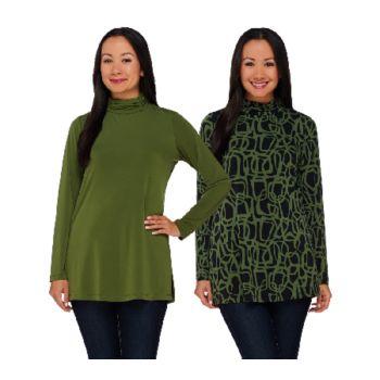 Susan Graver Printed & Solid Set of 2 Liquid Knit Turtleneck Tunics