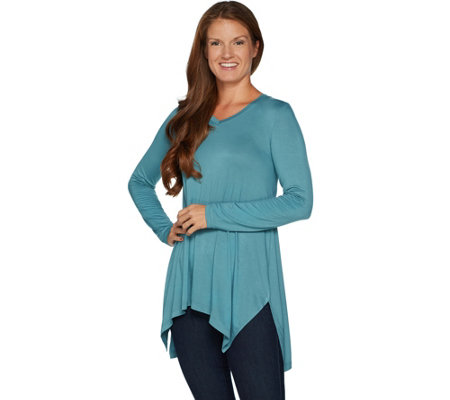 LOGO Layers by Lori Goldstein Knit Top with Side Slits and Asymmetric Hem