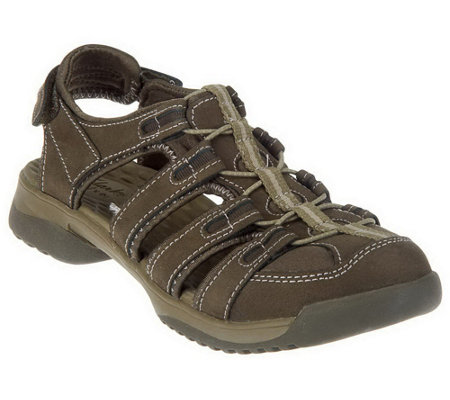 """As Is"" Clarks Leather Adj. Fisherman Sport Sandals - Vapor Mist"