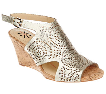 """As Is"" Isaac Mizrahi Live! Perforated Leather Wedge Sandals - A271382"