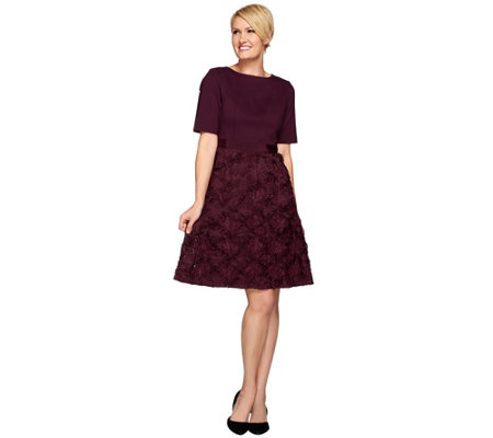 Isaac Mizrahi Live! Special Edition Ponte & Organza Dress
