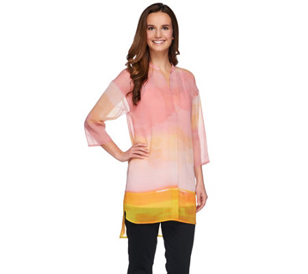 H by Halston Horizon Ombre' Print Woven Tunic with Knit Tank