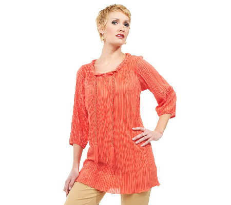 """As Is"" Joan Rivers Pleated Tunic with Rope Tie Detail"