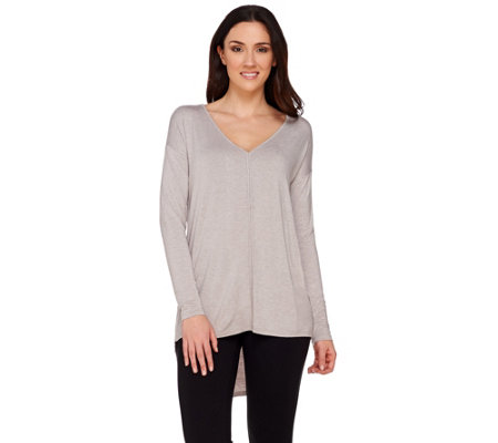 H by Halston Knit Long Sleeve Top with Ladder Stitch Shoulder Detail