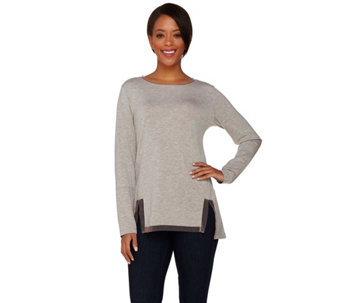 LOGO Lounge by Lori Goldstein French Terry Top w/ Contrast Mesh Detail - A273382
