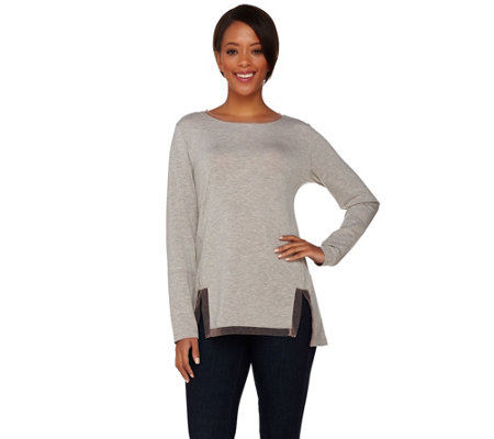 LOGO Lounge by Lori Goldstein French Terry Top w/ Contrast Mesh Detail