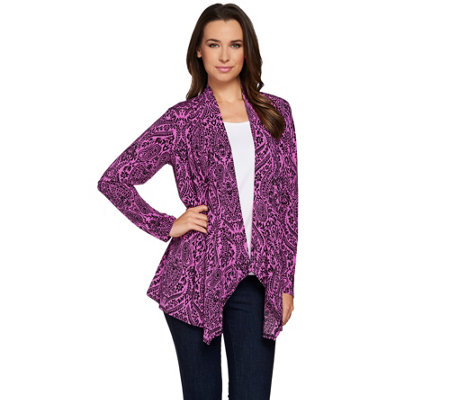 Joan Rivers Jersey Knit Paisley Waterfall Cardigan