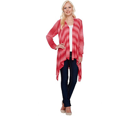 """As Is"" Attitudes by Renee Open Front Cascade Ombre Cardigan"
