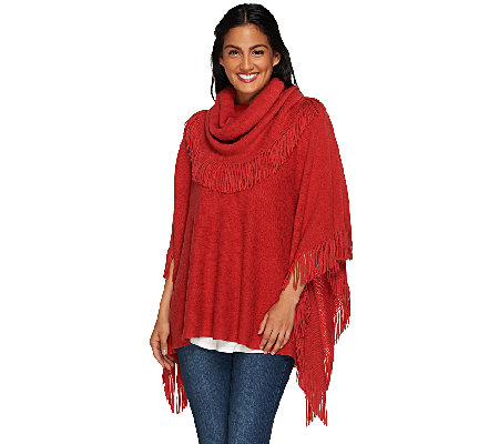 """As Is"" Layers by Lizden Marvelush Cowl Neck Fringed Poncho"