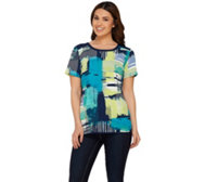 Studio By Denim & Co. Graphic Printed Short Sleeve Top