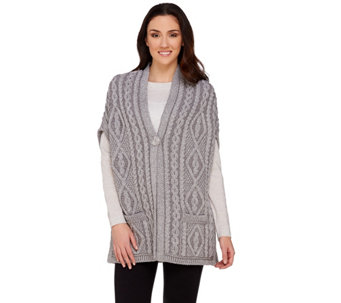 Aran Craft Merino Wool One Button Drop Shoulder Vest - A275982