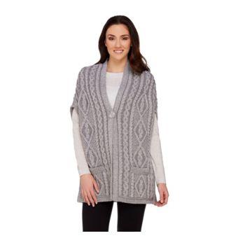 Aran Craft Merino Wool One Button Drop Shoulder Vest