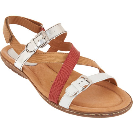 Earth Leather Multi-strap Sandals with Backstrap - Sandy