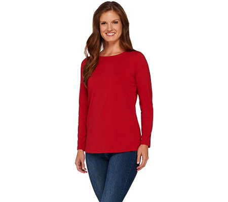 """As Is"" Susan Graver Essential Long Sleeve Bateau Neck Top"