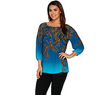 Susan Graver Printed Feather Weave Peasant Top - A278882