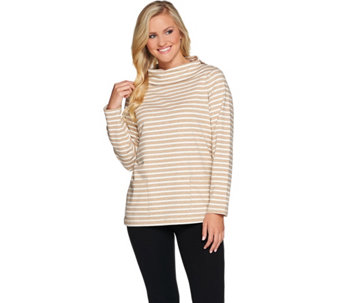 Susan Graver Weekend Striped French Terry Cowl Neck Top - A279782