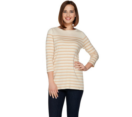 Isaac Mizrahi Live! 3/4 Sleeve Striped Knit Tunic