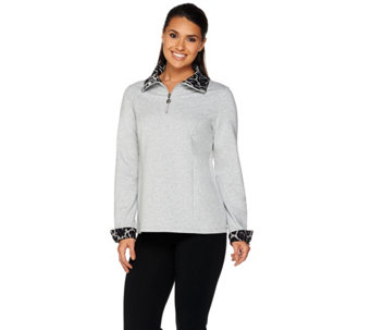 Susan Graver Weekend French Terry Top w/ Liquid Knit Accents - A281182