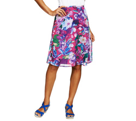 """As Is"" Isaac Mizrahi Live! Photo Real Floral Printed Chiffon Skirt"