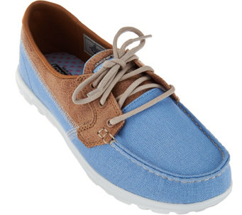 """As Is"" Skechers On-the -Go Boat Shoes with Goga Mat -Breezy - A284082"