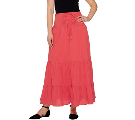 """As Is"" Denim & Co. Gauze Tiered Skirt with Waist Tie Detail"