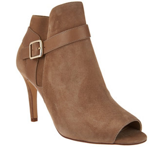"""As Is"" Marc Fisher Leather or Suede Peep Toe Ankle Boots - Shimmee - A287782"
