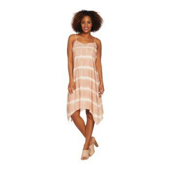 LOGO by Lori Goldstein Challis Tie Dye Print Dress w/ Asymmetric Hem