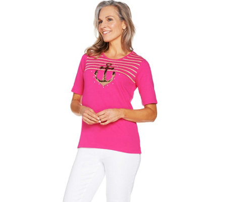 Quacker Factory Glam Anchor Sequin and Stripe Elbow Sleeve T-shirt