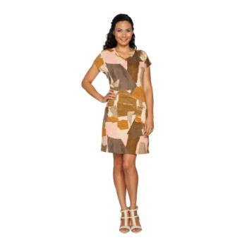 LOGO Lounge by Lori Goldstein French Terry Printed V-Neck Knit Dress