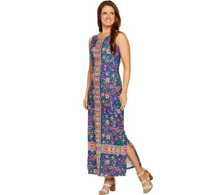 C. Wonder Petite Knit Engineered Floral Print Knit Maxi Dress