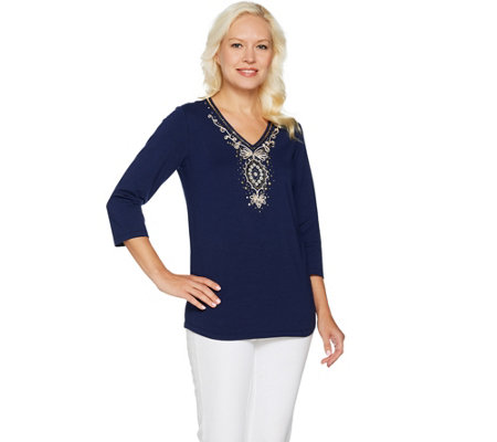 Belle by Kim Gravel Golden Medallion V-Neck Tunic