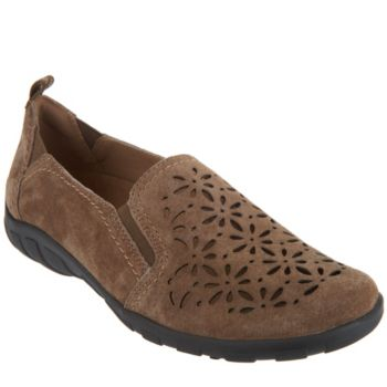 Earth Origins Suede Perforated Slip-on Shoes - Rikki