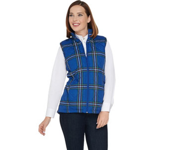 """As Is"" Denim & Co. Quilted Plaid Vest with Fleece Lining - A292182"