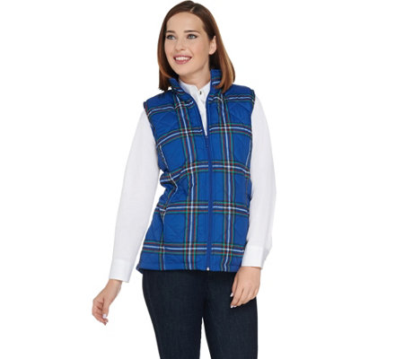"""As Is"" Denim & Co. Quilted Plaid Vest with Fleece Lining"
