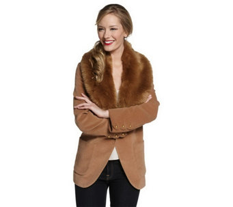 """As Is"" Luxe Rachel Zoe Blazer with Removable Faux Fur Collar - A292582"