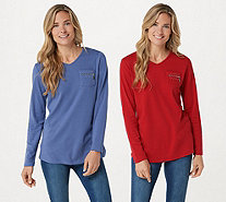 Quacker Factory Set of 2 Long Sleeve T-shirts with Zipper Detail - A292682
