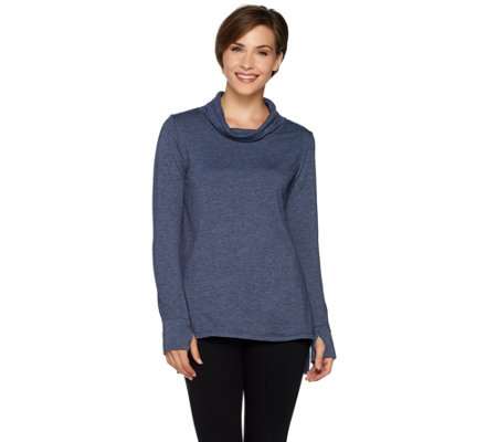 Cuddl Duds Comfortwear French Terry Long Sleeve Mock Neck Tunic