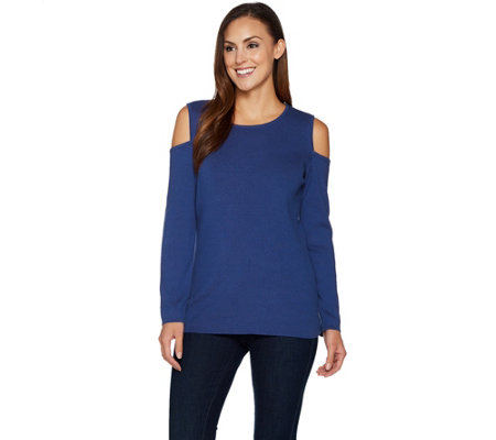 Denim & Co. Ribbed Knit Long Sleeve Cold Shoulder Sweater