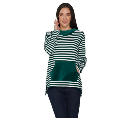 Denim & Co. Striped Knit Tunic with Stretch Velour Hood and Pocket
