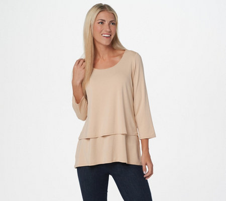 Joan Rivers Jersey Knit Layered Top with 3/4 Sleeves
