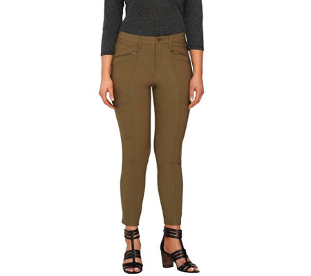 """As Is"" Lisa Rinna Collection Fly Front Pants w/ Zip & Seam Det."