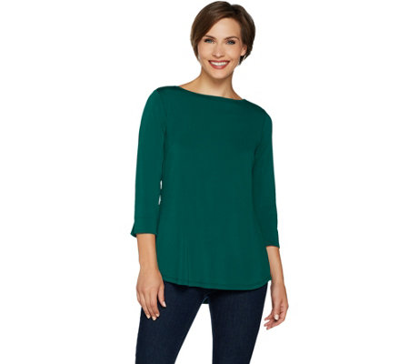 """As Is"" Joan Rivers 3/4 Sleeve Knit Top with Triple Back Pleat"